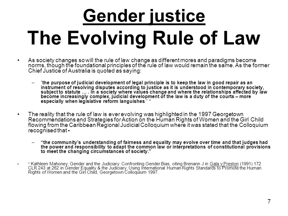 Gender justice The Evolving Rule of Law