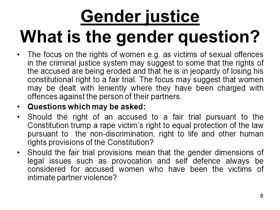 Gender justice What is the gender question