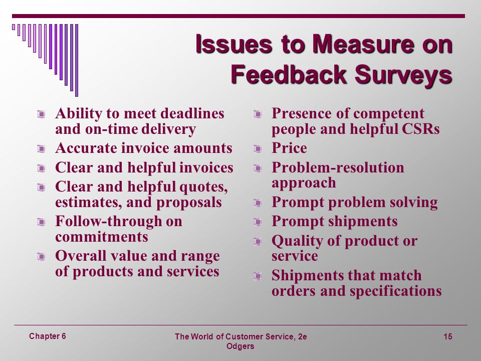Issues to Measure on Feedback Surveys