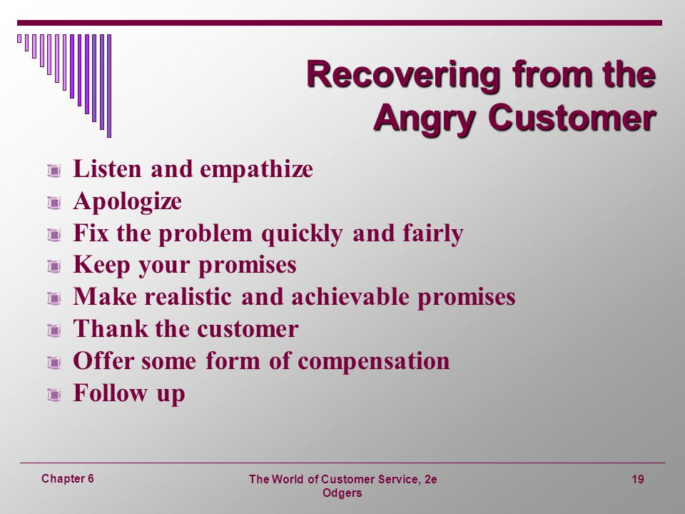 Recovering from the Angry Customer
