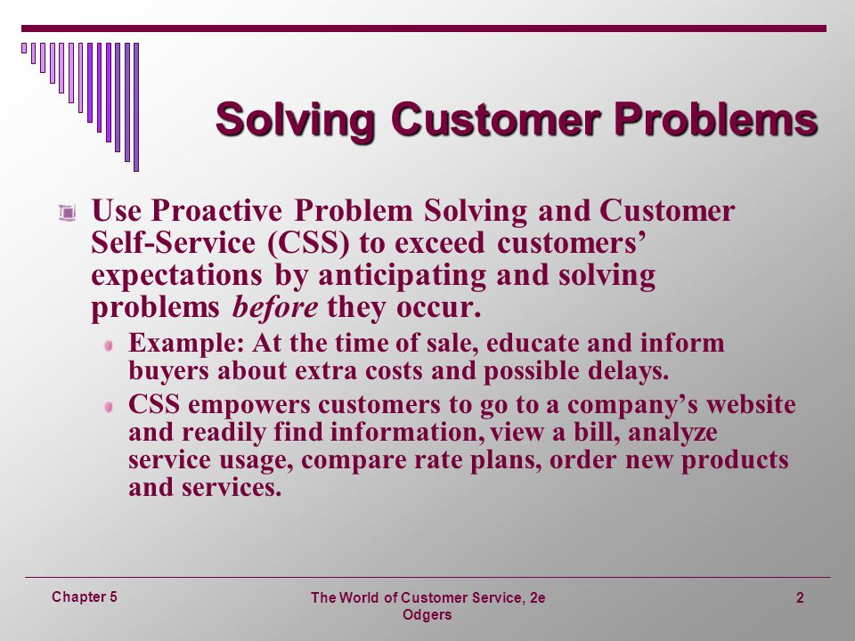 Solving Customer Problems