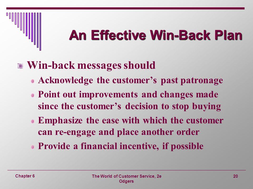 An Effective Win-Back Plan