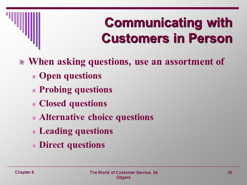 Communicating with Customers in Person