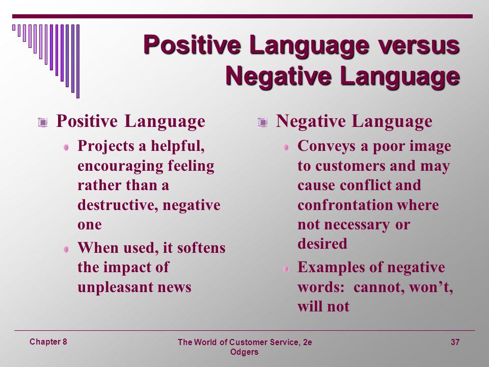 Positive Language versus Negative Language