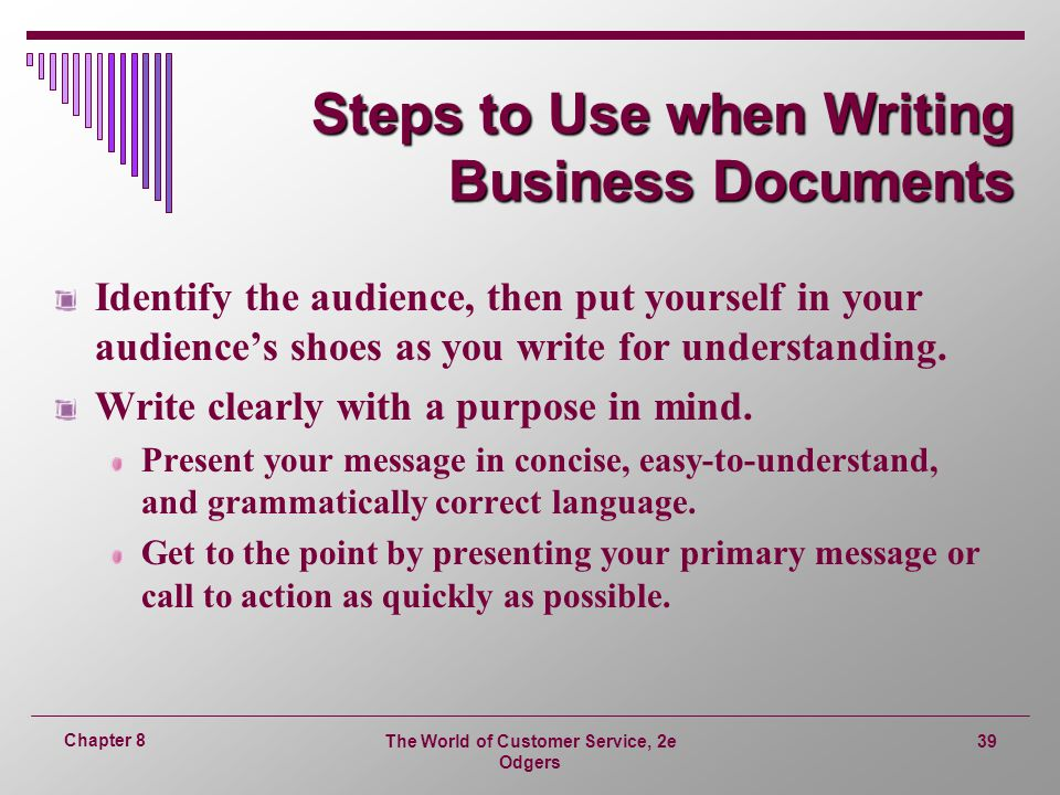 Steps to Use when Writing Business Documents