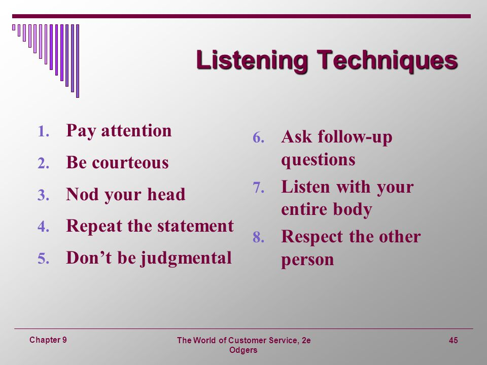 customer service notes on listening Eskill testing assesses a candidate's customer service orientation, adaptability, etiquette, listening skills, problem solving, communication skills, and teamwork.