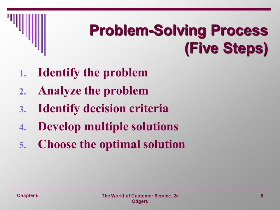 steps in a problem solving essay Page 1 of 5 7-step problem solving there are many different ways of solving problems or coming to conclusions there are also many ways to do research and learn lessons from the research that one finds.