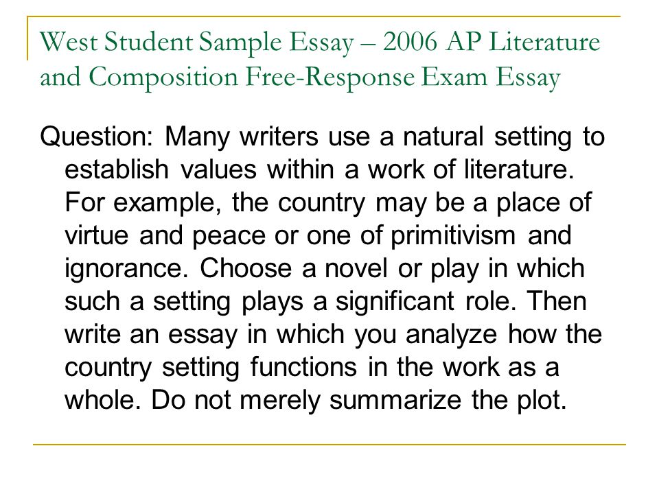 creating essay questions A profile essay is centered on a topic it should answer the following questions: what's the point why is this profile important what should the reader take away from the essay here is an example of a profile essay thesis note the concise formality and summarization of.