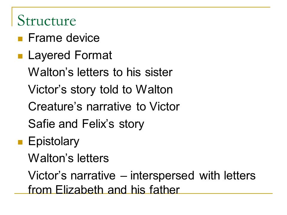 Structure Frame device Layered Format Walton's letters to his sister
