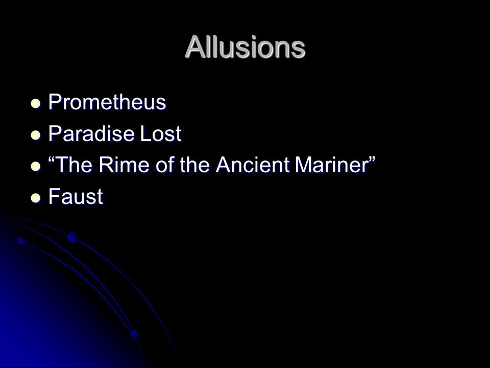 Allusions Prometheus Paradise Lost The Rime of the Ancient Mariner