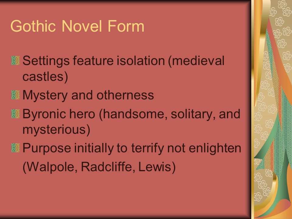 Gothic Novel Form Settings feature isolation (medieval castles)