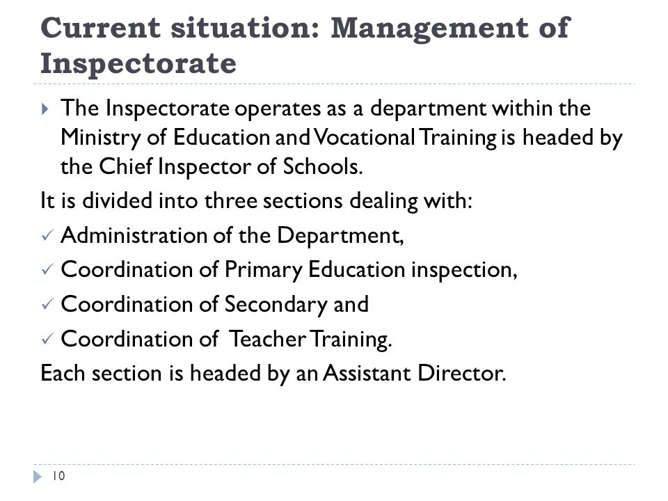 Current situation: Management of Inspectorate
