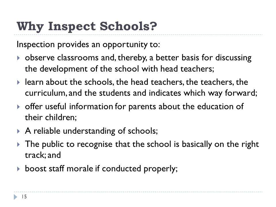 Why Inspect Schools Inspection provides an opportunity to: