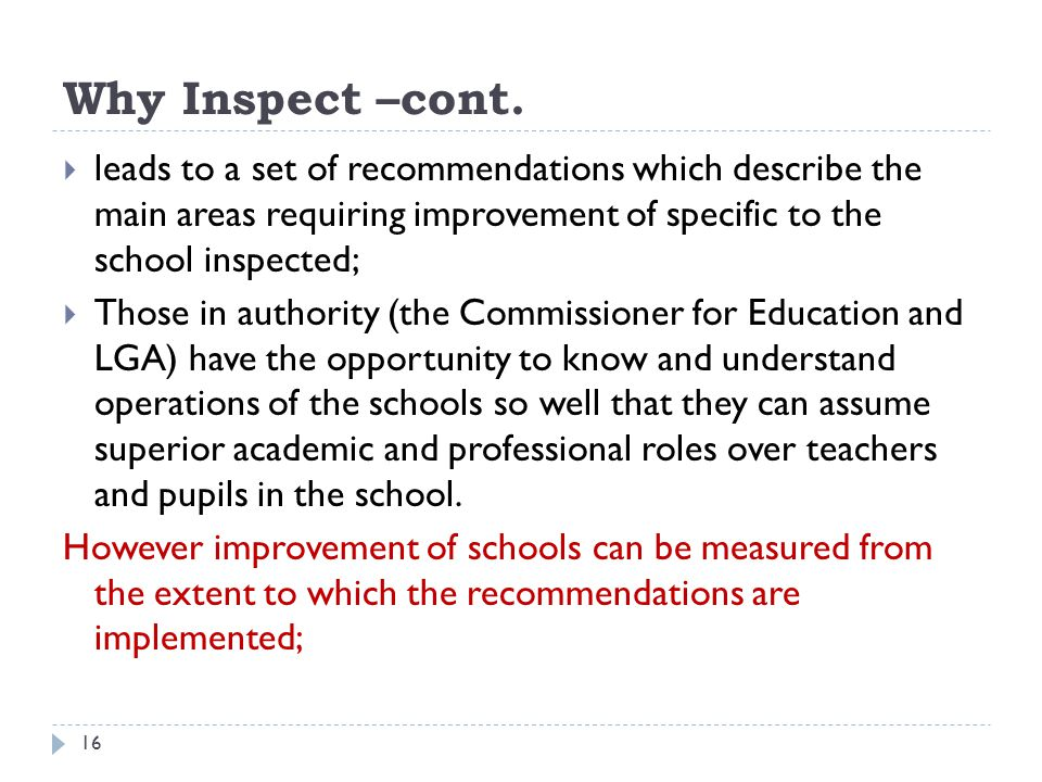 Why Inspect –cont. leads to a set of recommendations which describe the main areas requiring improvement of specific to the school inspected;