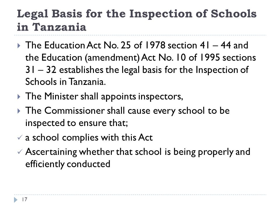 Legal Basis for the Inspection of Schools in Tanzania