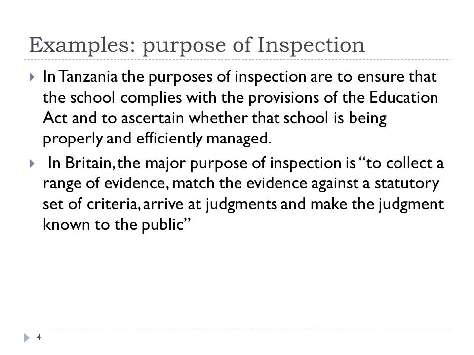 Examples: purpose of Inspection