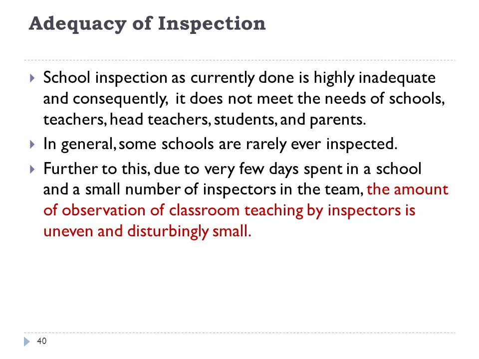 Adequacy of Inspection