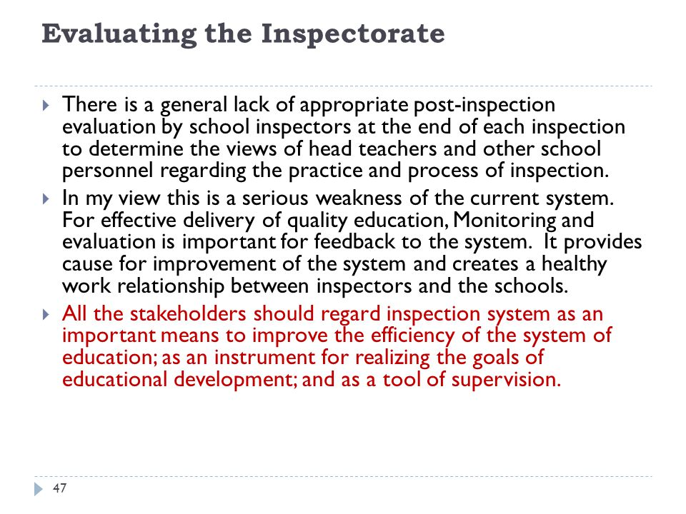 Evaluating the Inspectorate