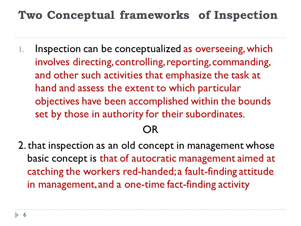 Two Conceptual frameworks of Inspection