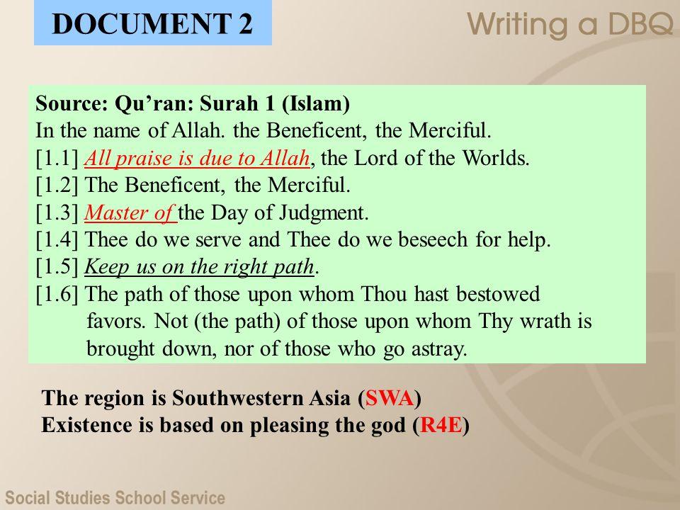 DOCUMENT 2 Source: Qu'ran: Surah 1 (Islam)