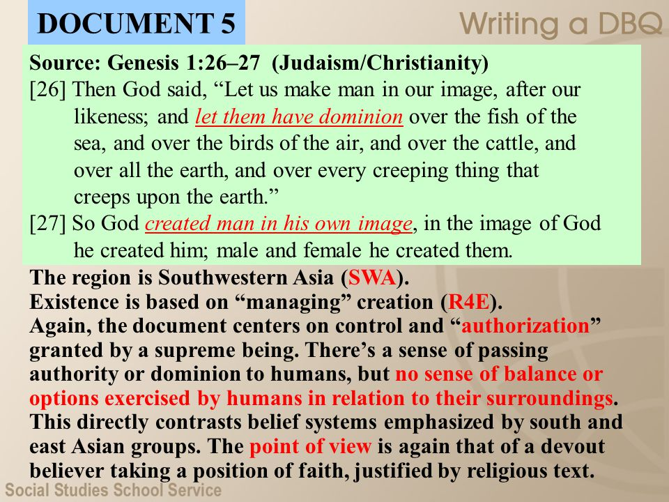 DOCUMENT 5 Source: Genesis 1:26–27 (Judaism/Christianity)
