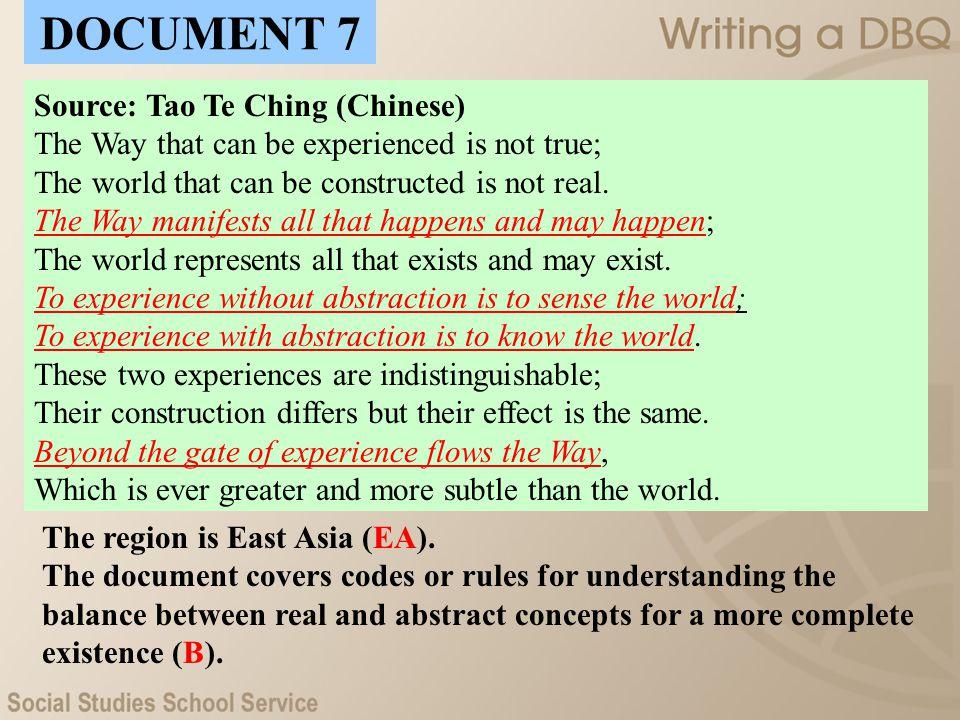 DOCUMENT 7 Source: Tao Te Ching (Chinese)