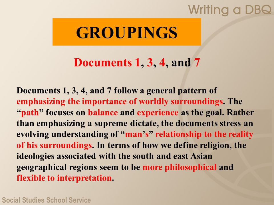 GROUPINGS Documents 1, 3, 4, and 7
