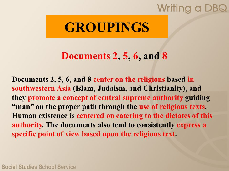 GROUPINGS Documents 2, 5, 6, and 8