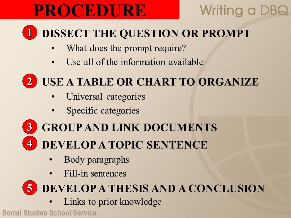 PROCEDURE 1 DISSECT THE QUESTION OR PROMPT 2