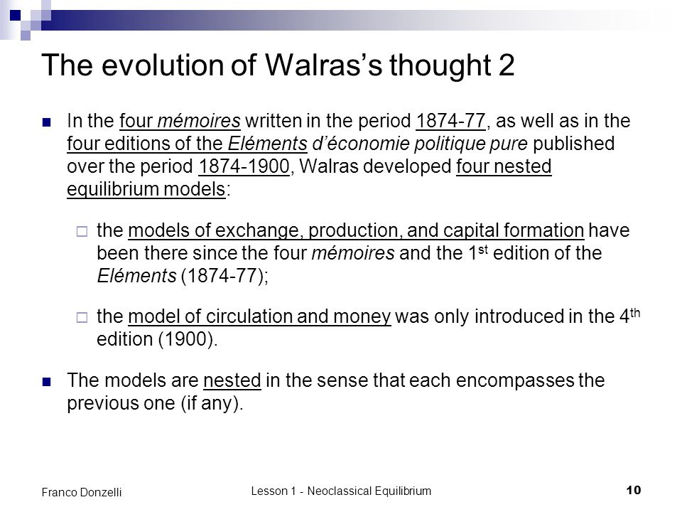 The evolution of Walras's thought 2