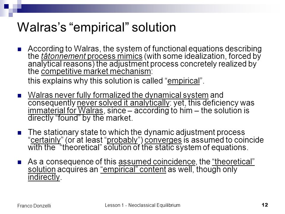 Walras's empirical solution