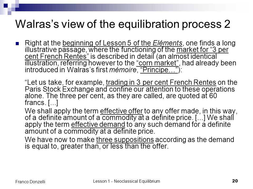 Walras's view of the equilibration process 2