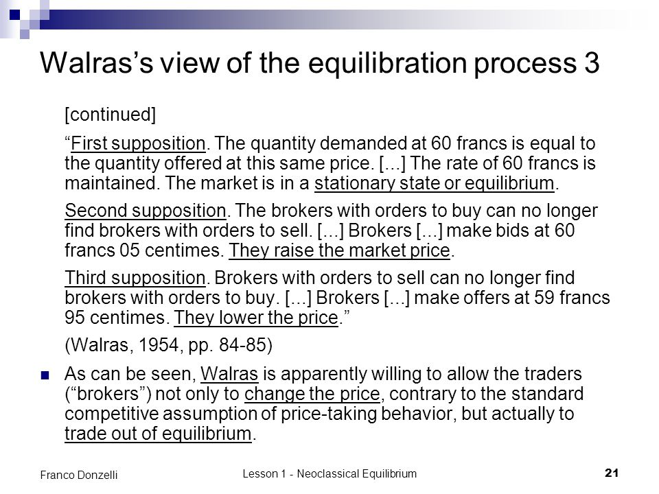 Walras's view of the equilibration process 3