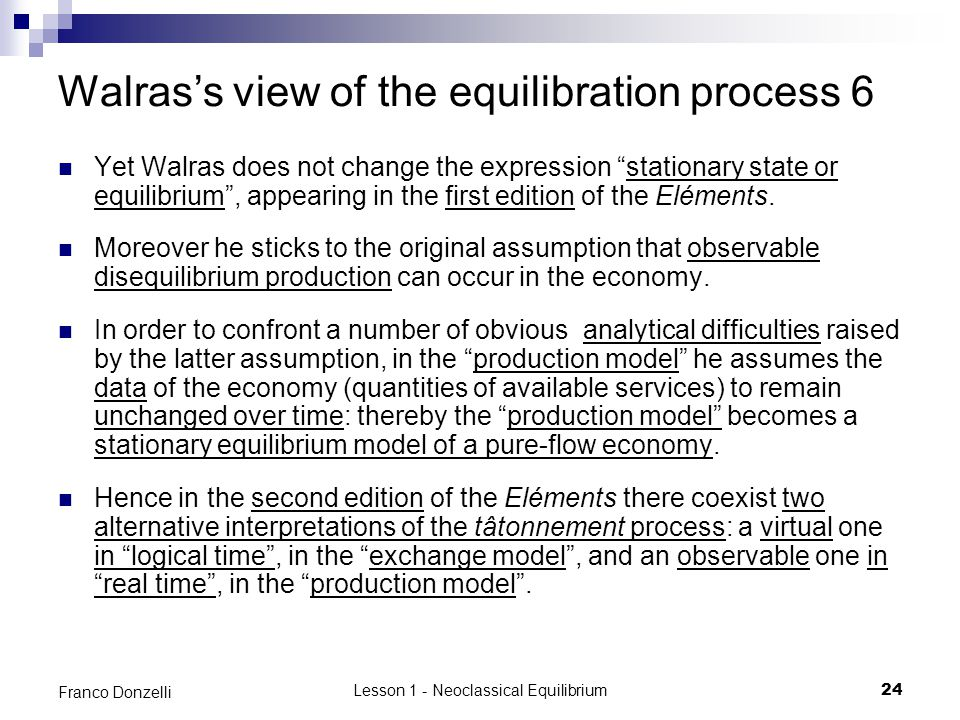 Walras's view of the equilibration process 6