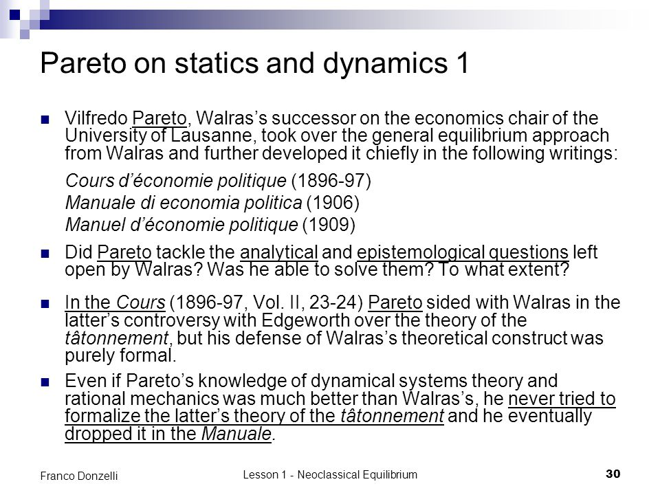 Pareto on statics and dynamics 1