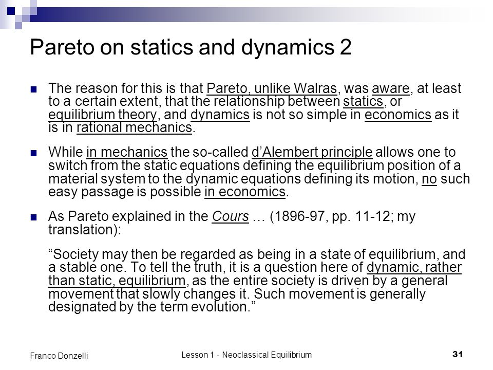 Pareto on statics and dynamics 2
