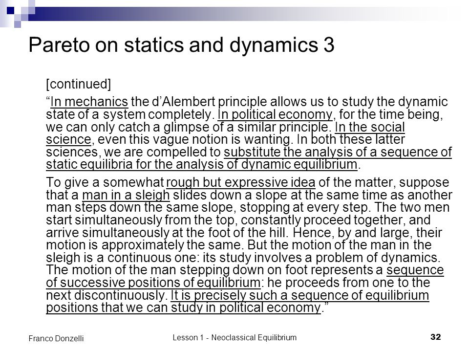 Pareto on statics and dynamics 3