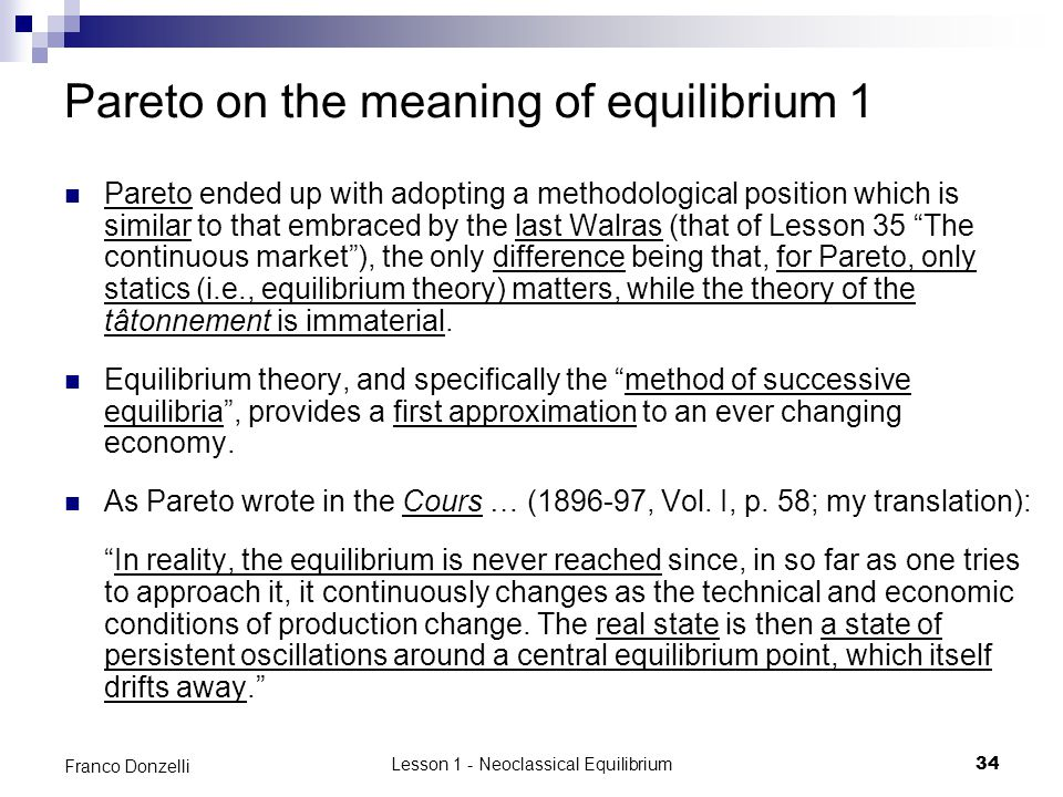 Pareto on the meaning of equilibrium 1