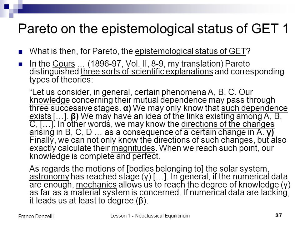 Pareto on the epistemological status of GET 1