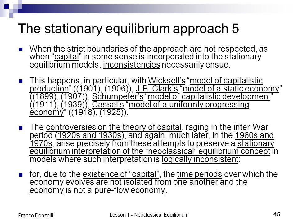 The stationary equilibrium approach 5