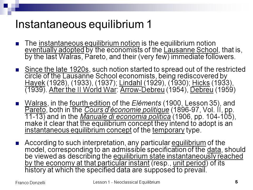 Instantaneous equilibrium 1