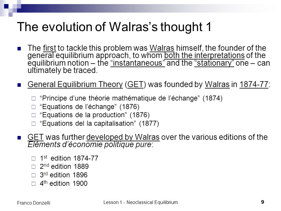 The evolution of Walras's thought 1