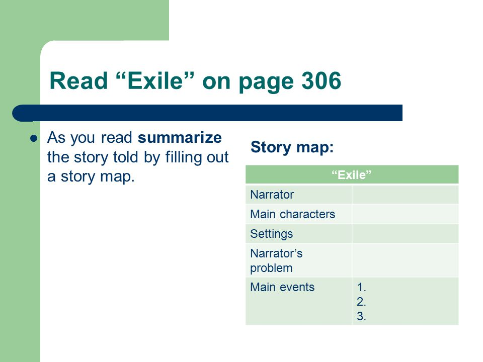 Read Exile on page 306 As you read summarize the story told by filling out a story map. Story map:
