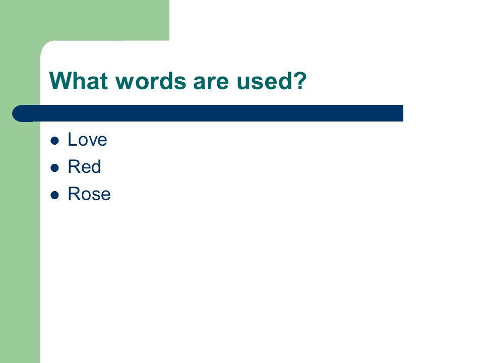 What words are used Love Red Rose