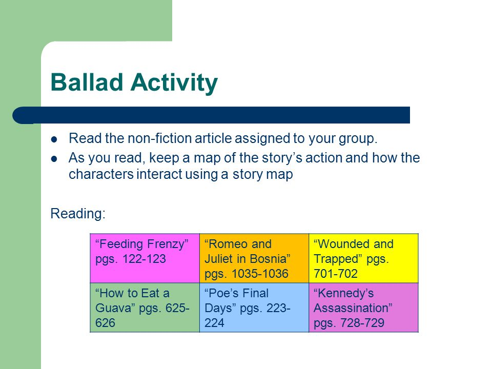 Ballad Activity Read the non-fiction article assigned to your group.