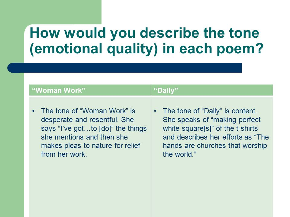 How would you describe the tone (emotional quality) in each poem