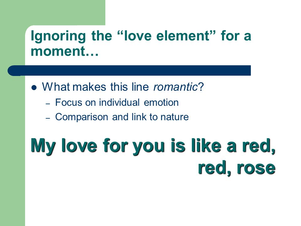 Ignoring the love element for a moment…