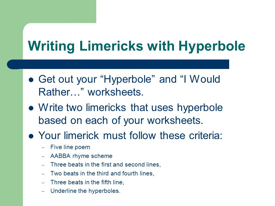 All About Poetry ppt download – How to Write a Limerick Worksheet