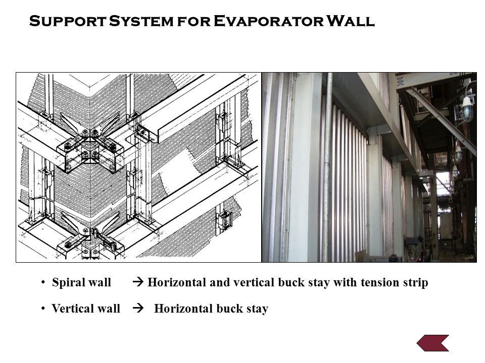 Support System for Evaporator Wall