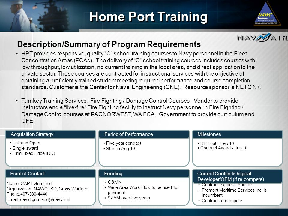 Home Port Training Description/Summary of Program Requirements